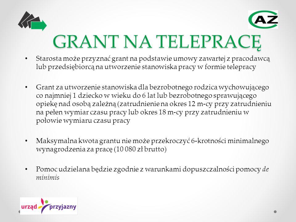 GRANT NA TELEPRACĘ Starosta może przyznać grant na podstawie umowy zawartej z pracodawcą lub przedsiębiorcą na utworzenie stanowiska pracy w formie te
