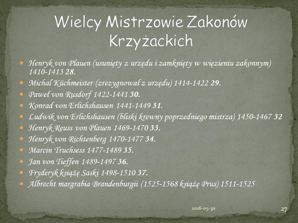 Henryk von Plauen (usunięty z urzędu i zamknięty w więzieniu zakonnym) 1410-1413 28. Michal Küchmeister (zrezygnował z urzędu) 1414-1422 29. Paweł von