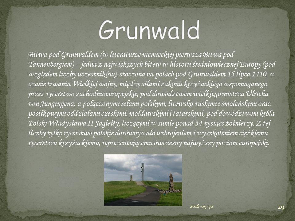 Bitwa pod Grunwaldem (w literaturze niemieckiej pierwsza Bitwa pod Tannenbergiem) - jedna z największych bitew w historii średniowiecznej Europy (pod