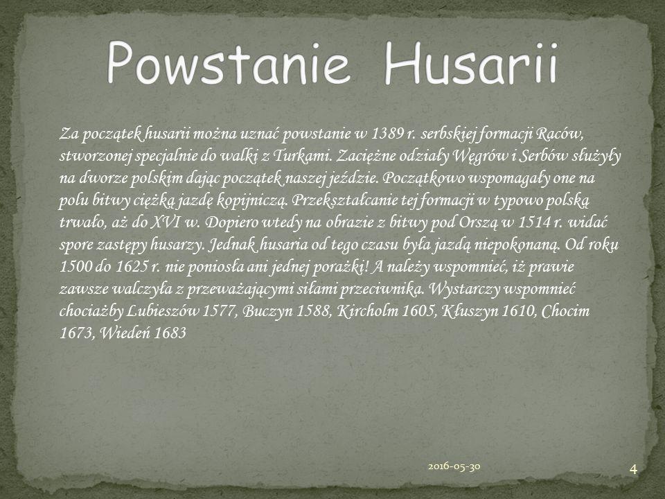 Za początek husarii można uznać powstanie w 1389 r. serbskiej formacji Raców, stworzonej specjalnie do walki z Turkami. Zaciężne odziały Węgrów i Serb