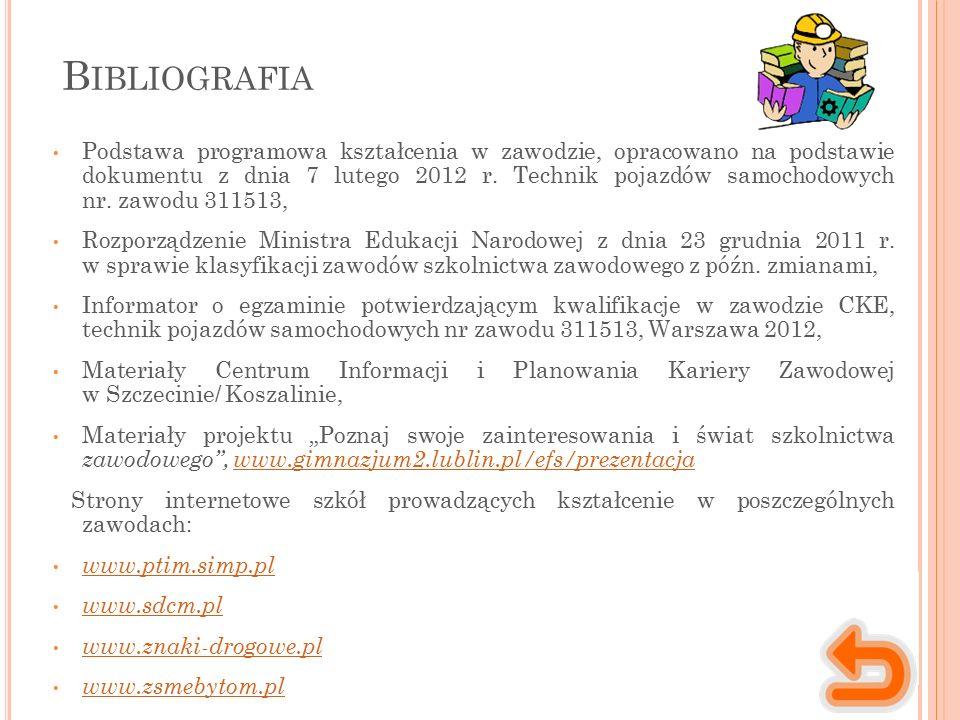 B IBLIOGRAFIA Podstawa programowa kształcenia w zawodzie, opracowano na podstawie dokumentu z dnia 7 lutego 2012 r. Technik pojazdów samochodowych nr.