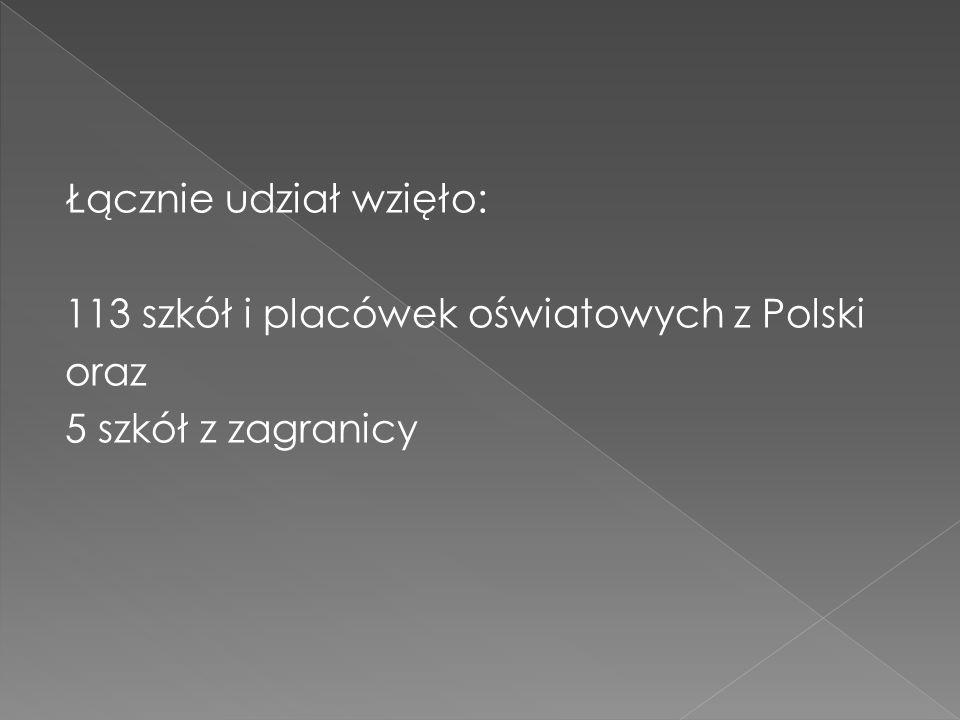 Łącznie udział wzięło: 113 szkół i placówek oświatowych z Polski oraz 5 szkół z zagranicy