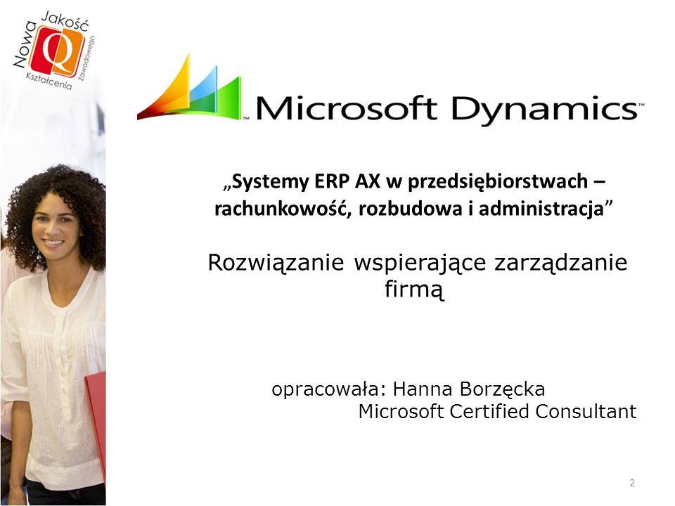 Dynamics™AX Dynamics AX (wcześniej MBS Axapta)  Niekwestionowana, najpopularniejsza na świecie marka Microsoft.
