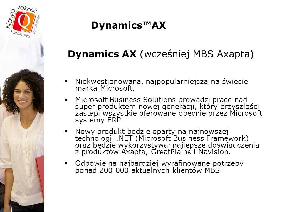 Dynamics™AX – funkcjonalności Role użytkowników – Portal firmy  Rola przedstawiciela handlowego tworzenie oferty i zamówienia sprzedaży zapytania cenowo-rabatowe przeglądanie informacji i statystyk dot.