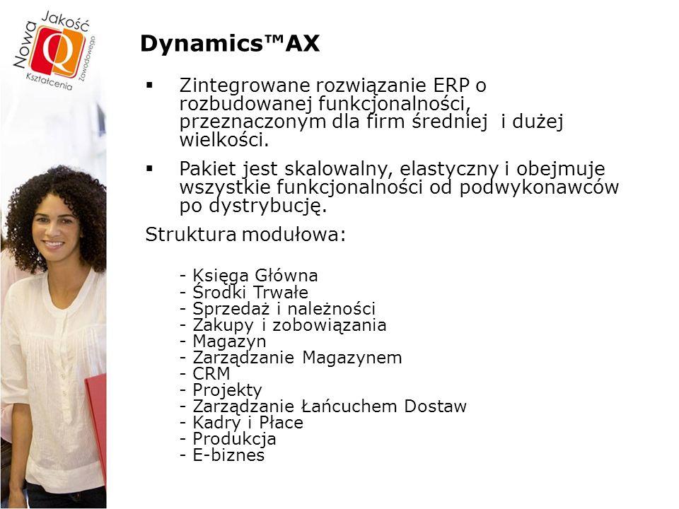 Dynamics™AX – funkcjonalności Połączenia ze wszystkimi partnerami Urzędy Banki Akcjonariusze Poddostawcy Zakłady/Fabryki Dostawcy Filie Hurtownicy Dystrybutorzy Detaliści Konsumenci