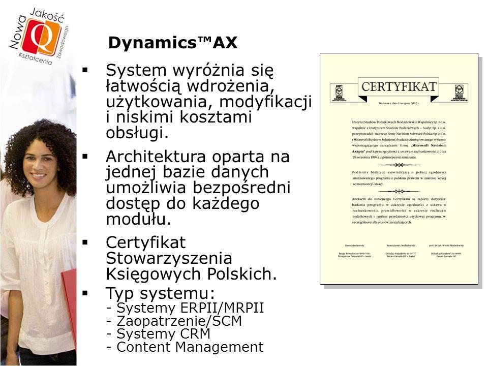 Dynamics™AX – szczegóły Innowacyjne rozwiązania do konfiguracji i rozwijania aplikacji  Unikatowy system kluczy tematycznych – każda funkcja w systemie ma przyporządkowany klucz tematyczny, który można włączyć lub wyłączyć.