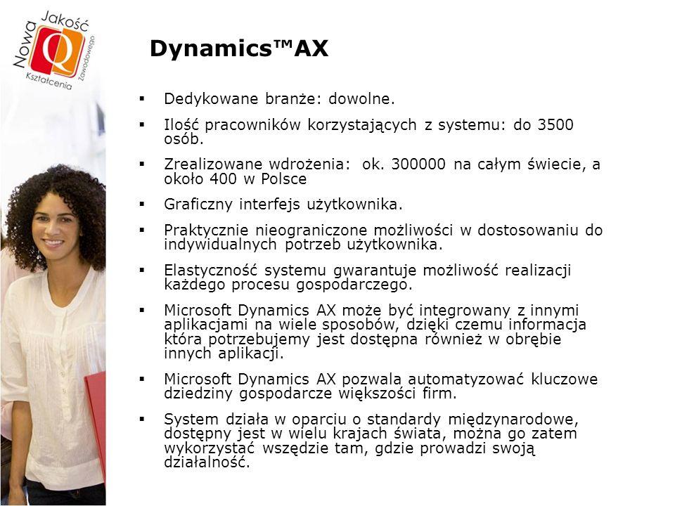 Dynamics™AX Dedykowane branże …  handel i dystrybucja  przemysł  finanse  IT/telekomunikacja  administracja  usługi  transport  użyteczność publiczna  media  edukacja