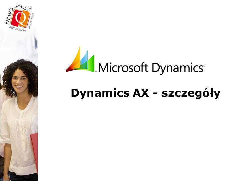 Dynamics™AX – szczegóły Spójność i Integracja  Moduły systemu Dynamics™AX są w pełni zintegrowane co oznacza, że wprowadzanie, przechowywanie i zmiany odbywają się w jednym miejscu.