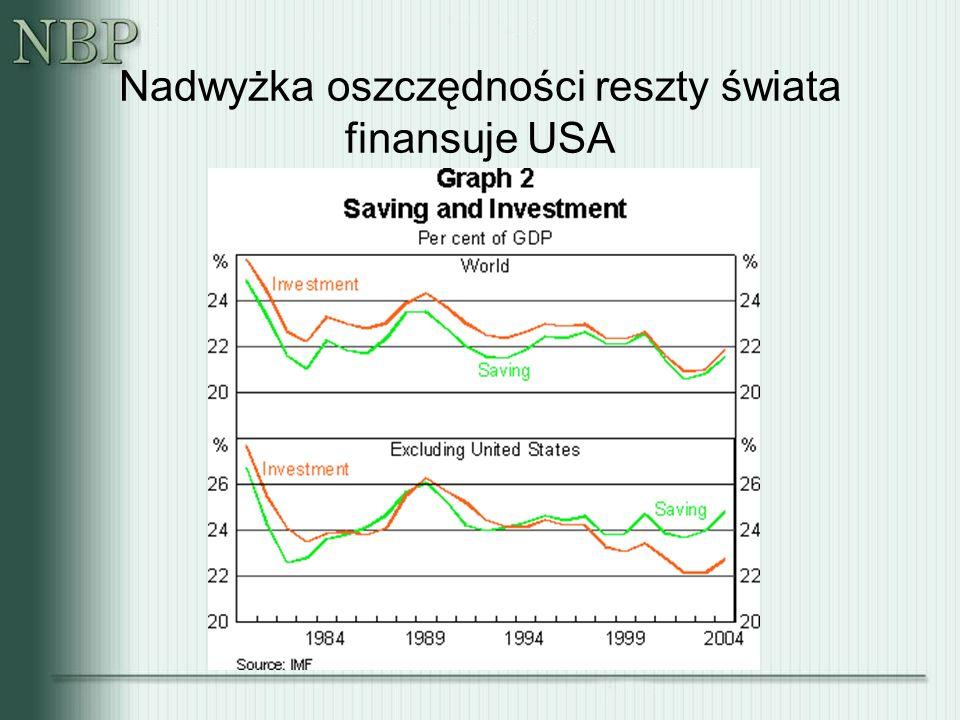 Nadwyżka oszczędności reszty świata finansuje USA