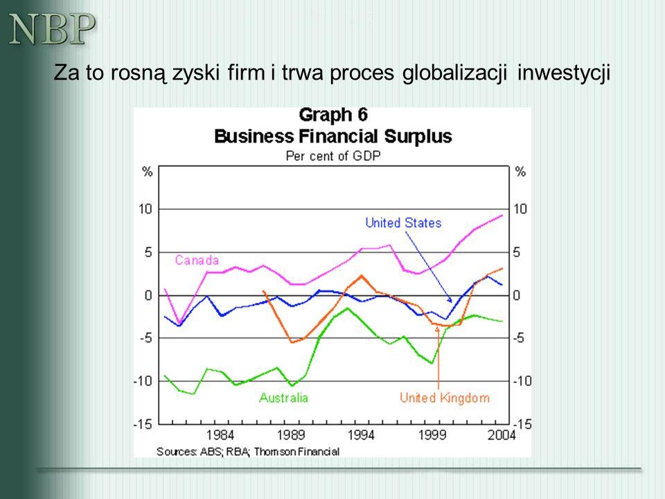 Za to rosną zyski firm i trwa proces globalizacji inwestycji