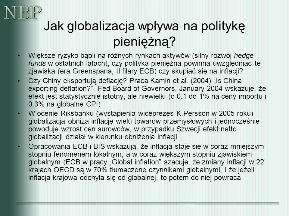 Jak globalizacja wpływa na politykę pieniężną? Większe ryzyko bąbli na różnych rynkach aktywów (silny rozwój hedge funds w ostatnich latach), czy poli