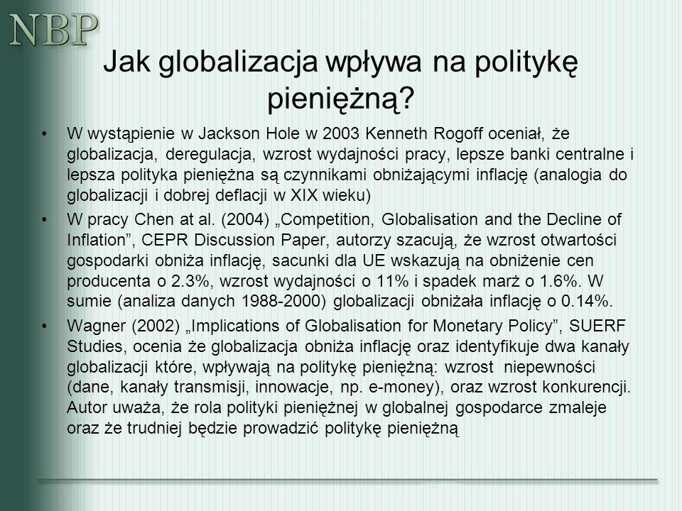 Jak globalizacja wpływa na politykę pieniężną? W wystąpienie w Jackson Hole w 2003 Kenneth Rogoff oceniał, że globalizacja, deregulacja, wzrost wydajn