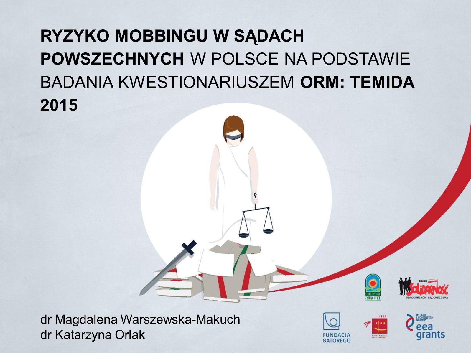 RYZYKO MOBBINGU W SĄDACH POWSZECHNYCH W POLSCE NA PODSTAWIE BADANIA KWESTIONARIUSZEM ORM: TEMIDA 2015 dr Magdalena Warszewska-Makuch dr Katarzyna Orlak