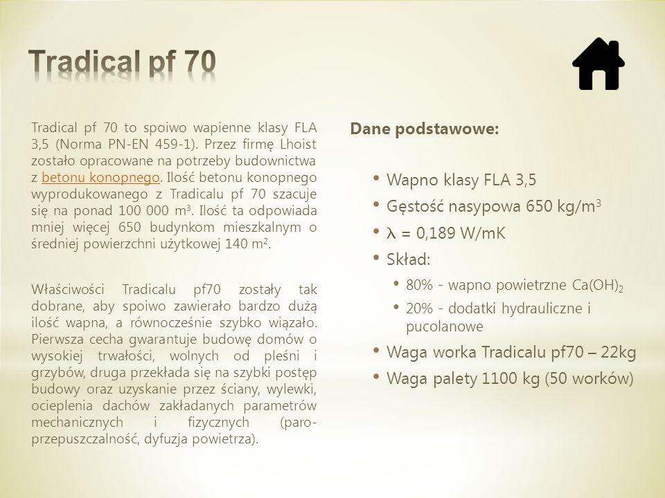 Tradical pf 70 to spoiwo wapienne klasy FLA 3,5 (Norma PN-EN 459-1). Przez firmę Lhoist zostało opracowane na potrzeby budownictwa z betonu konopnego.