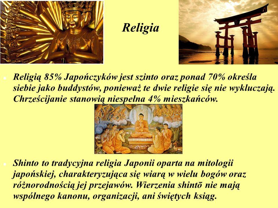 Religia Religią 85% Japończyków jest szinto oraz ponad 70% określa siebie jako buddystów, ponieważ te dwie religie się nie wykluczają. Chrześcijanie s