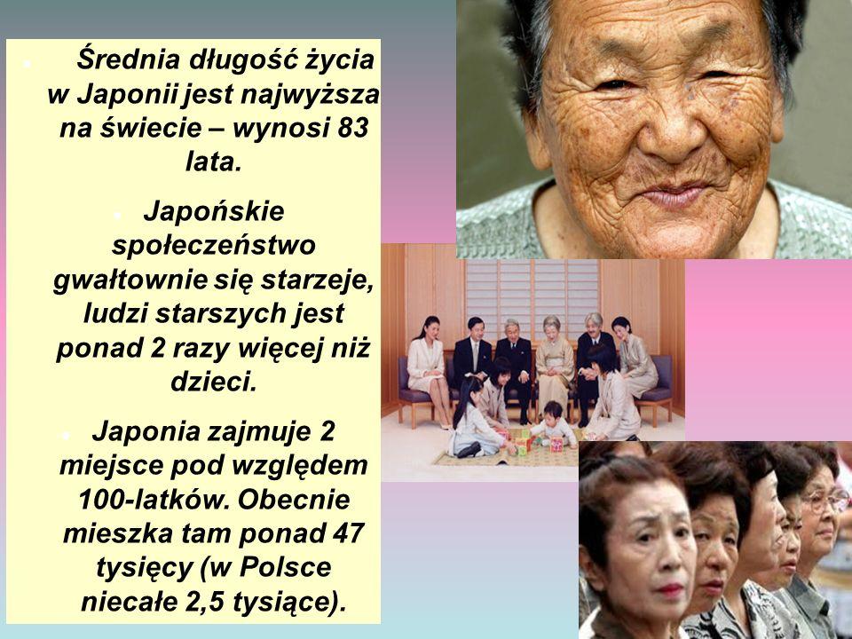 Średnia długość życia w Japonii jest najwyższa na świecie – wynosi 83 lata. Japońskie społeczeństwo gwałtownie się starzeje, ludzi starszych jest pona