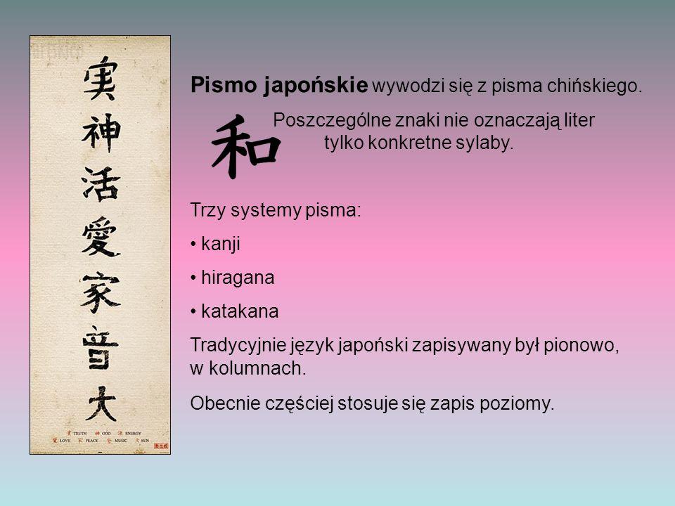 Pismo japońskie wywodzi się z pisma chińskiego. Poszczególne znaki nie oznaczają liter tylko konkretne sylaby. Trzy systemy pisma: kanji hiragana kata