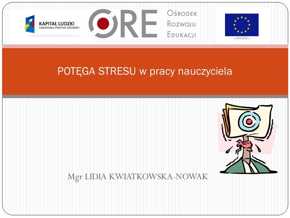 Mgr LIDIA KWIATKOWSKA-NOWAK POTĘGA STRESU w pracy nauczyciela