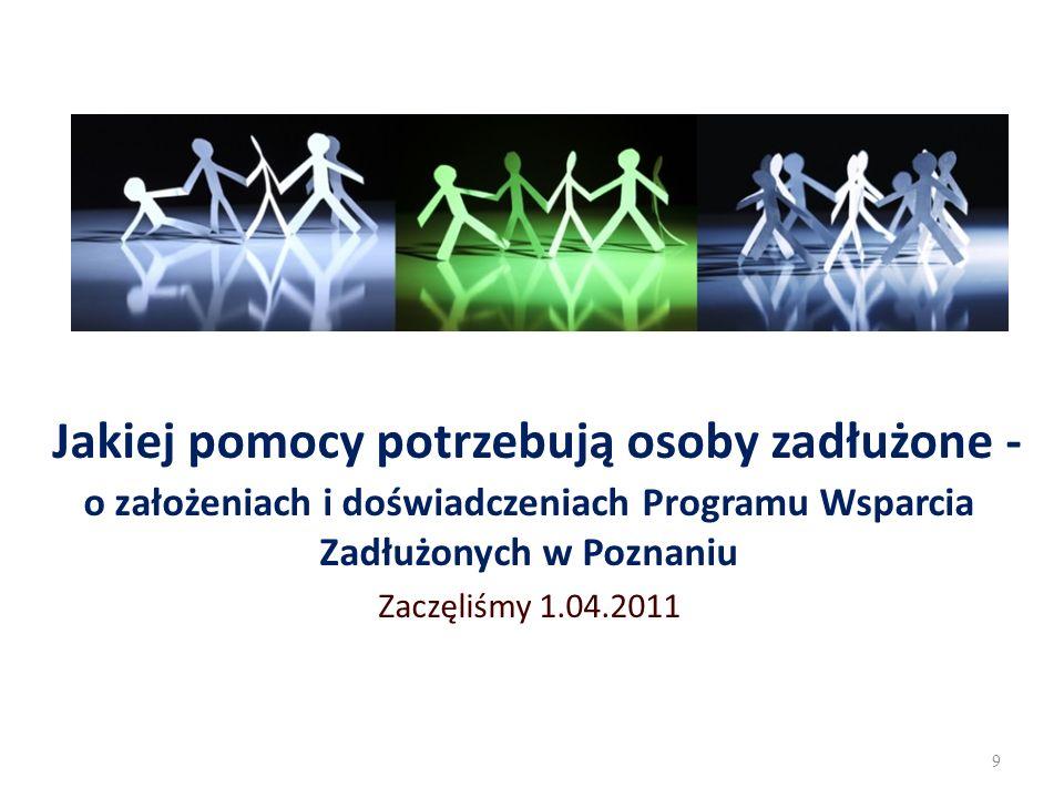 Jakiej pomocy potrzebują osoby zadłużone - o założeniach i doświadczeniach Programu Wsparcia Zadłużonych w Poznaniu Zaczęliśmy 1.04.2011 9