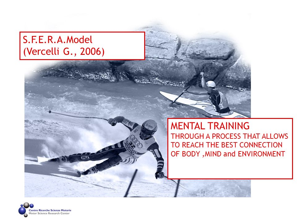 S.F.E.R.A.Model (Vercelli G., 2006) MENTAL TRAINING THROUGH A PROCESS THAT ALLOWS TO REACH THE BEST CONNECTION OF BODY,MIND and ENVIRONMENT