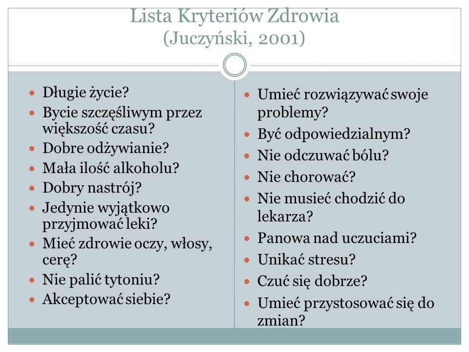 Lista Kryteriów Zdrowia (Juczyński, 2001) Długie życie.