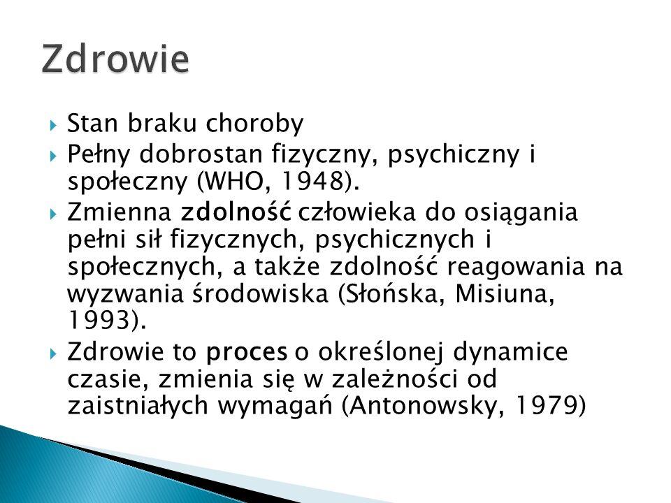  Stan braku choroby  Pełny dobrostan fizyczny, psychiczny i społeczny (WHO, 1948).  Zmienna zdolność człowieka do osiągania pełni sił fizycznych, p
