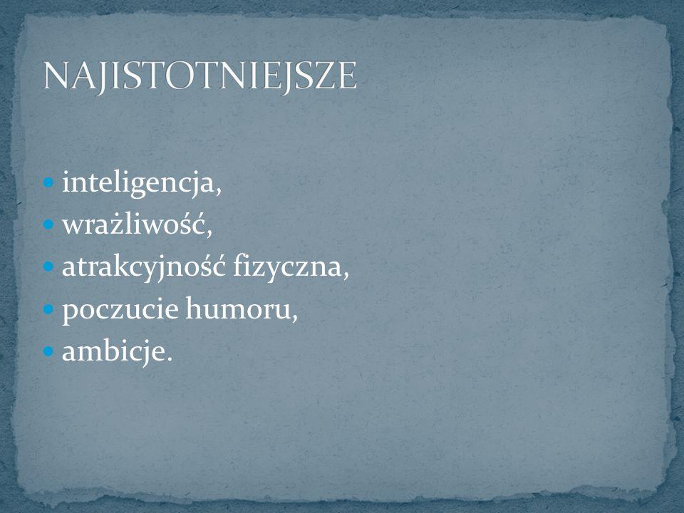 inteligencja, wrażliwość, atrakcyjność fizyczna, poczucie humoru, ambicje.