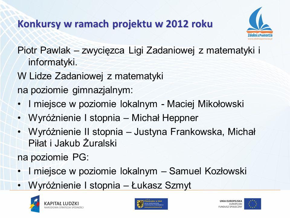 Piotr Pawlak – zwycięzca Ligi Zadaniowej z matematyki i informatyki. W Lidze Zadaniowej z matematyki na poziomie gimnazjalnym: I miejsce w poziomie lo