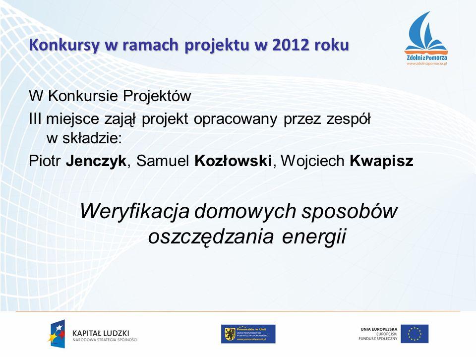 W Konkursie Projektów III miejsce zajął projekt opracowany przez zespół w składzie: Piotr Jenczyk, Samuel Kozłowski, Wojciech Kwapisz Weryfikacja domo