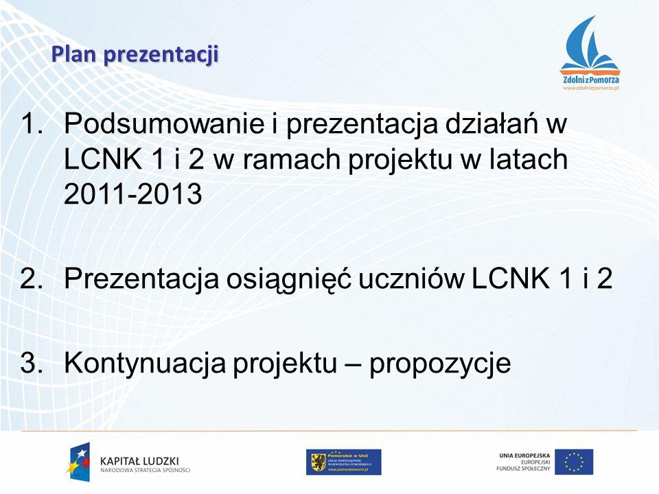 1.Podsumowanie i prezentacja działań w LCNK 1 i 2 w ramach projektu w latach 2011-2013 2.Prezentacja osiągnięć uczniów LCNK 1 i 2 3.Kontynuacja projek
