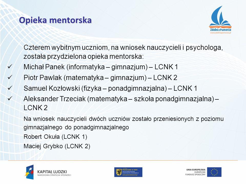 Czterem wybitnym uczniom, na wniosek nauczycieli i psychologa, została przydzielona opieka mentorska: Michał Panek (informatyka – gimnazjum) – LCNK 1