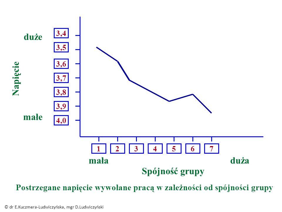 1 234567 4,0 3,9 3,8 3,7 3,6 3,5 3,4 duże Napięcie małe mała Spójność grupy duża Postrzegane napięcie wywołane pracą w zależności od spójności grupy © dr E.Kuczmera-Ludwiczyńska, mgr D.Ludwiczyński