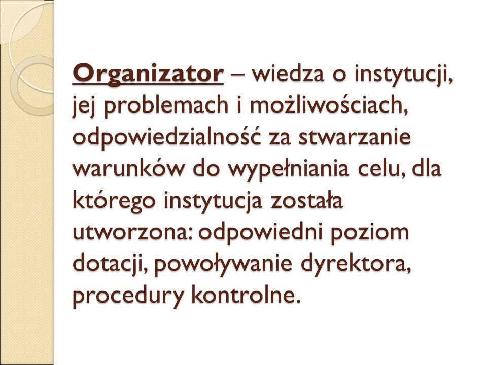 Organizator – wiedza o instytucji, jej problemach i możliwościach, odpowiedzialność za stwarzanie warunków do wypełniania celu, dla którego instytucja