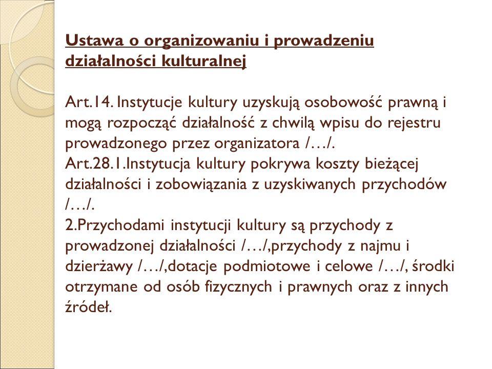 Ustawa o organizowaniu i prowadzeniu działalności kulturalnej Art.14. Instytucje kultury uzyskują osobowość prawną i mogą rozpocząć działalność z chwi