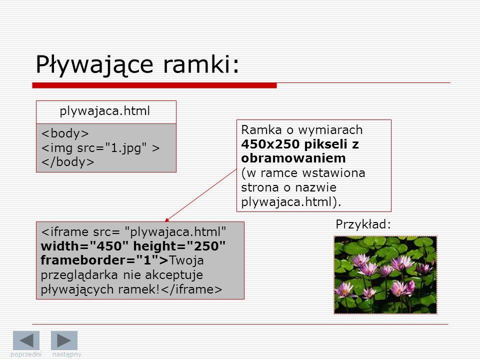 Przykład: Twoja przeglądarka nie akceptuje pływających ramek! Pływające ramki: plywajaca.html Ramka o wymiarach 450x250 pikseli z obramowaniem (w ramc