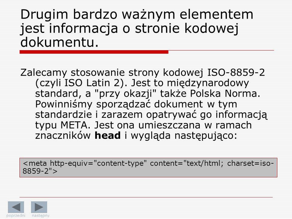 Zalecamy stosowanie strony kodowej ISO-8859-2 (czyli ISO Latin 2).
