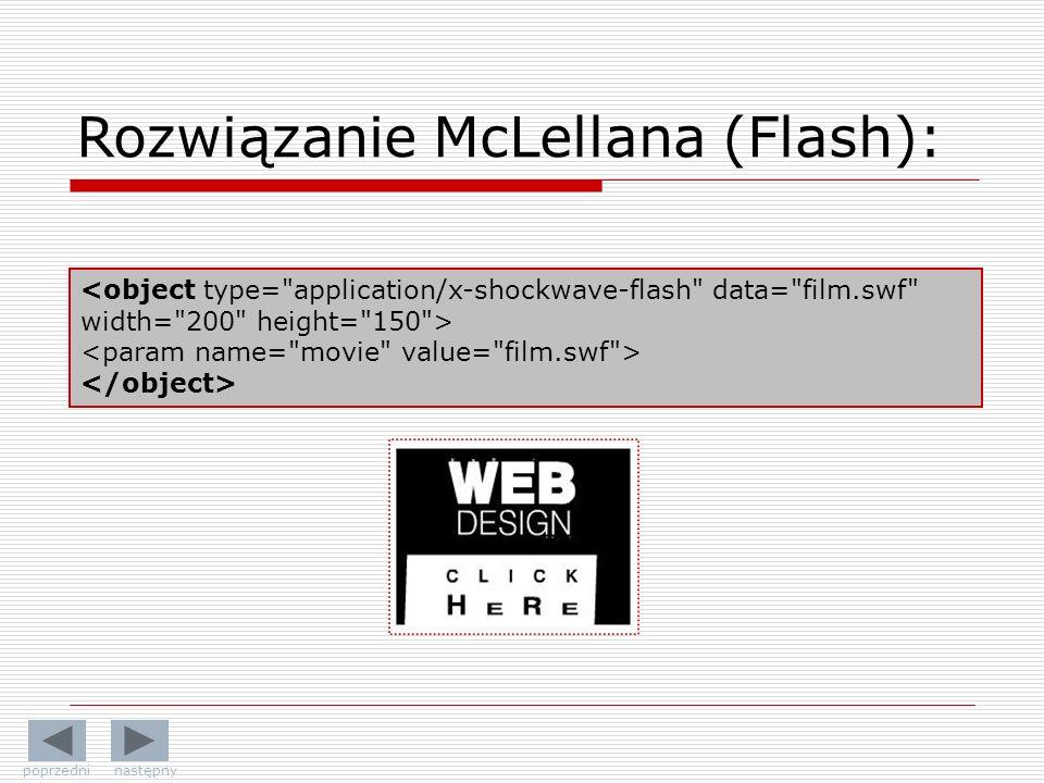 Rozwiązanie McLellana (Flash): poprzedni następny