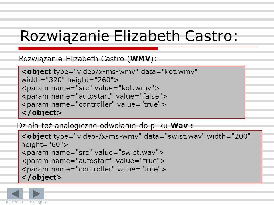 Rozwiązanie Elizabeth Castro (WMV): Działa też analogiczne odwołanie do pliku Wav : Rozwiązanie Elizabeth Castro: poprzedni następny