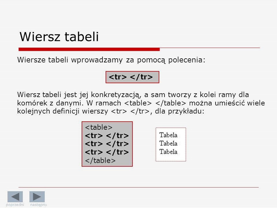 Wiersz tabeli Wiersze tabeli wprowadzamy za pomocą polecenia: Wiersz tabeli jest jej konkretyzacją, a sam tworzy z kolei ramy dla komórek z danymi. W
