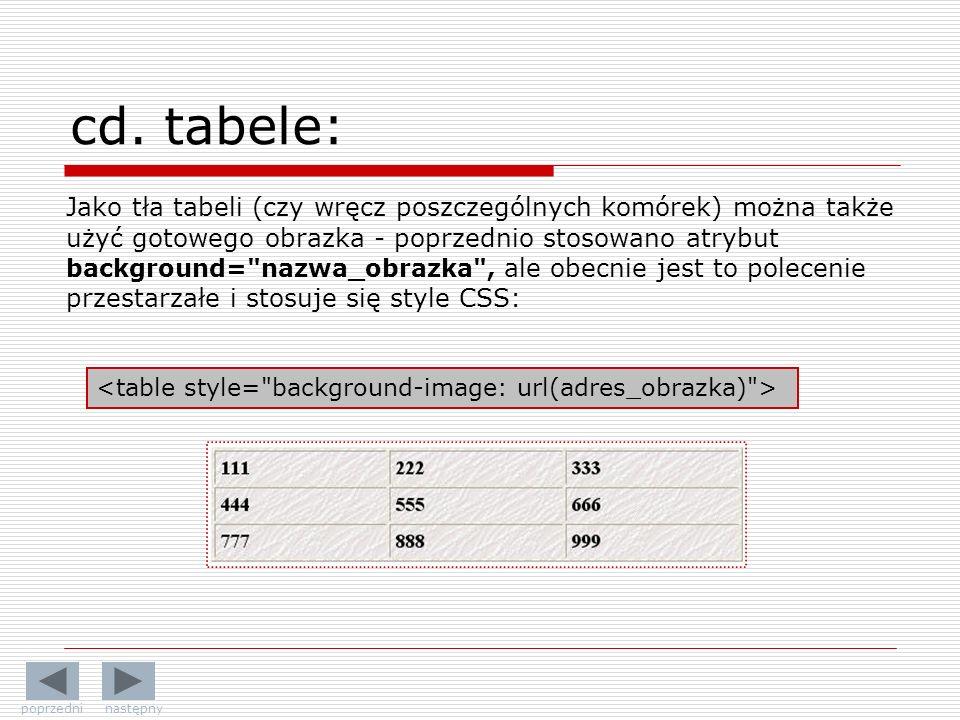 Jako tła tabeli (czy wręcz poszczególnych komórek) można także użyć gotowego obrazka - poprzednio stosowano atrybut background= nazwa_obrazka , ale obecnie jest to polecenie przestarzałe i stosuje się style CSS: cd.