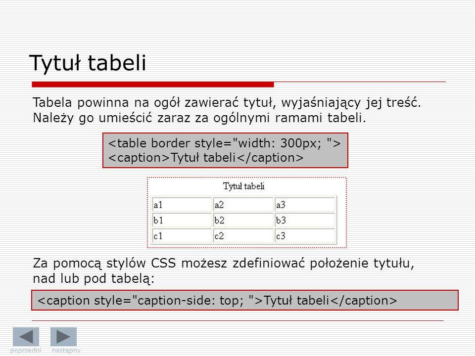Tytuł tabeli Tabela powinna na ogół zawierać tytuł, wyjaśniający jej treść. Należy go umieścić zaraz za ogólnymi ramami tabeli. Tytuł tabeli Za pomocą