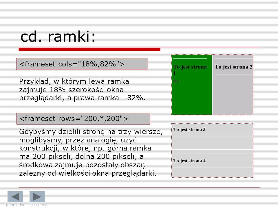 Przykład, w którym lewa ramka zajmuje 18% szerokości okna przeglądarki, a prawa ramka - 82%.