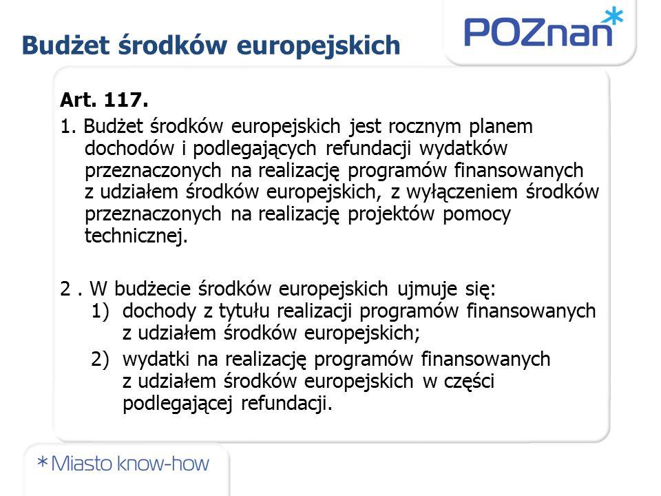 Budżet środków europejskich Art. 117. 1.