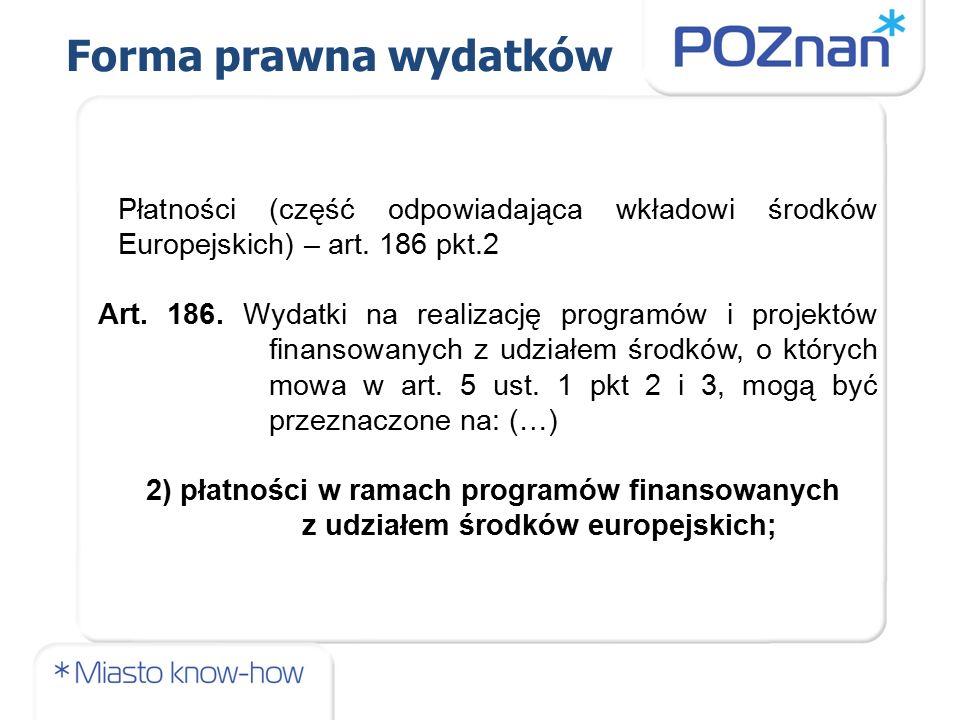 Płatności (część odpowiadająca wkładowi środków Europejskich) – art.