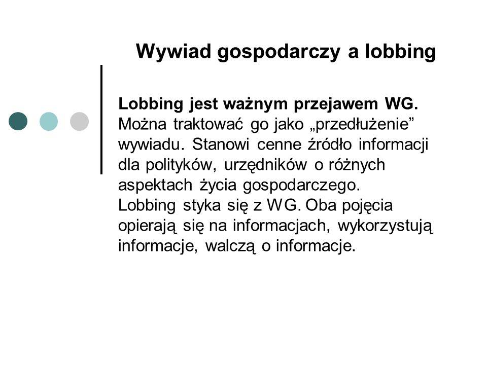 Wywiad gospodarczy a lobbing Lobbing jest ważnym przejawem WG.