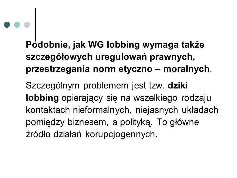 Podobnie, jak WG lobbing wymaga także szczegółowych uregulowań prawnych, przestrzegania norm etyczno – moralnych.