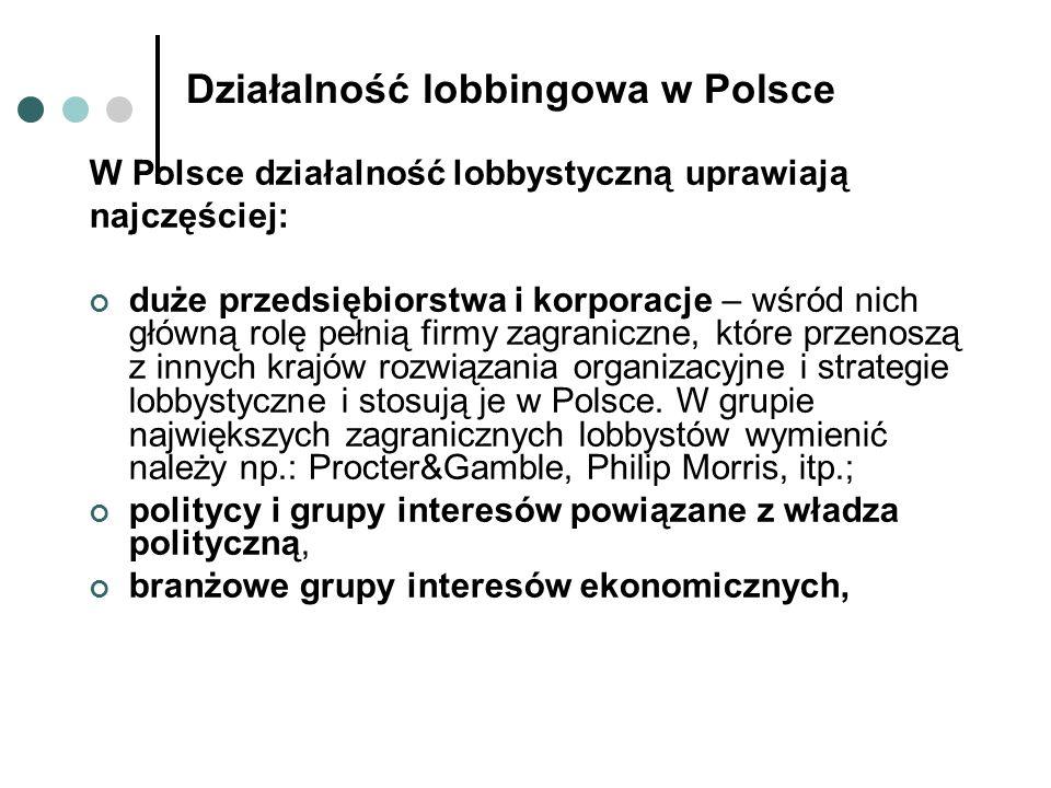 związki, organizacje i stowarzyszenia gospodarcze – wśród nich za najbardziej znaczące uważa się: Konfederację Pracodawców Polskich, Krajową Izbę Gospodarczą, Business Center Club, Polską Radę Biznesu; biorą one udział w procesie legislacyjnym, monitorują i opiniują akty prawne, wypowiadają się na temat polityki gospodarczej rządu i ingerencji państwa w gospodarkę, organizują spotkania i dyskusje na tematy gospodarcze z czołowymi przedstawicielami życia politycznego.
