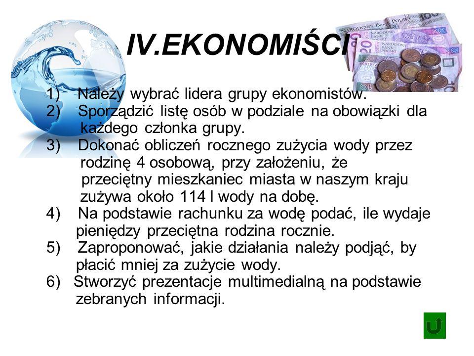 IV.EKONOMIŚCI 1) Należy wybrać lidera grupy ekonomistów.
