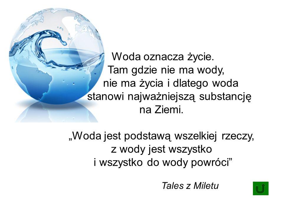 Woda oznacza życie.