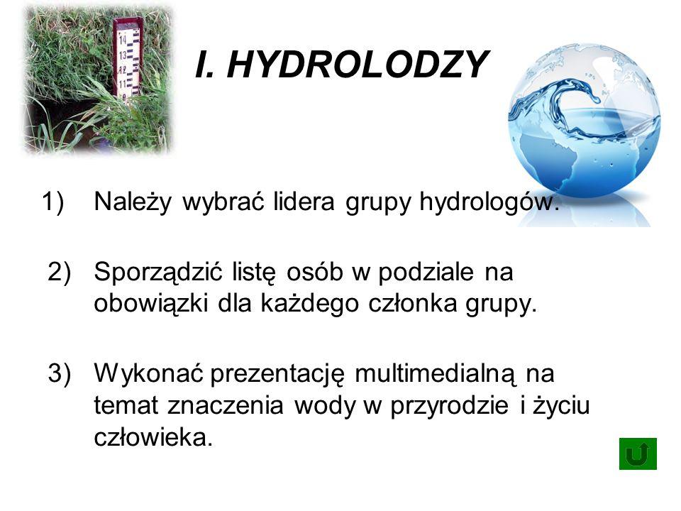 I. HYDROLODZY 1) Należy wybrać lidera grupy hydrologów.